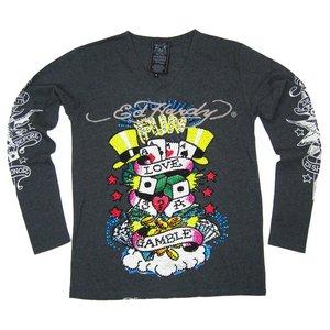 Ed Hardy(エドハーディー) メンズ Vネック ロンT 長袖 Tシャツ  GAMBLE ギャンブル ラインストーン【M03PBG531】 L - 拡大画像