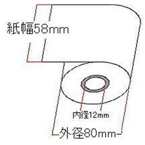 【業務用】レジスター用感熱紙 58mm×80mm感熱ロールペーパー 10巻 - 拡大画像
