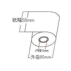 レジスター用感熱紙 58mm×80mm感熱ロールペーパー 5巻 - 拡大画像