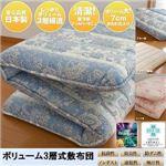 東洋紡フィルファーモニィ綿使用 ボリューム3層式 敷布団 ダブルサイズ ブルー系柄おまかせ 税込:8,980円