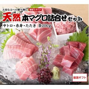 【三崎恵水産】天然本マグロ詰合せセット (中トロ・赤身・たたき 各200g、醤油・わさび付)