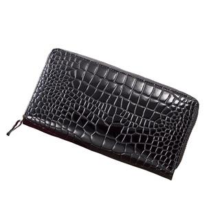 牛革クロコ型押しコインスルー財布(ブラック)