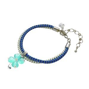 静電気幸せのクローバートップ付ブレス(ブルー)