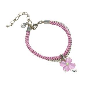 静電気幸せのクローバートップ付ブレス(ピンク)