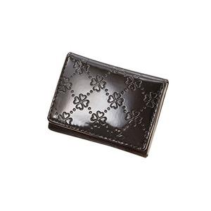 おしゃれnaクローバー 牛革コンパクト財布  ブラック