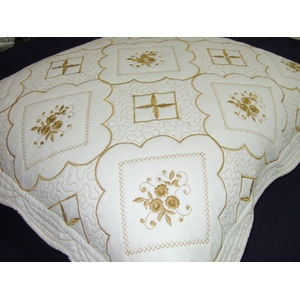 刺繍キルト クッション カバー
