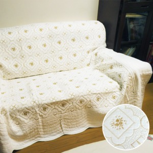 【マルチカバー】刺繍キルティングカバー 200X200cm ★ホワイト・ゴールド - 拡大画像