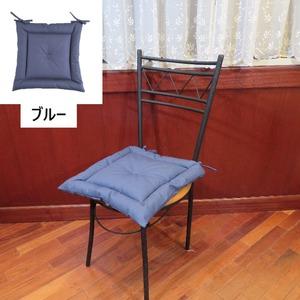 薄型シートクッション/座布団 【ブルー】 紐付き 洗える 日本製 『オックス』