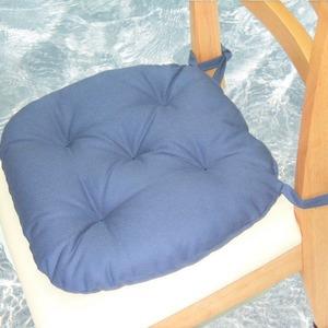 バテイ型 シートクッション/座布団 【ブルー】 厚み6cm 紐付き 洗える 日本製