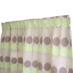 幅100×丈135cm(2枚入り)シュニールカーテン水玉日本製グリーン
