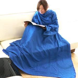 着る袖付きブランケットスナギー ブルー - 拡大画像