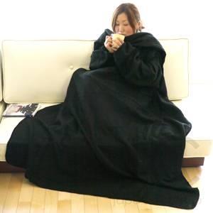 着る袖付きブランケットスナギー ブラック - 拡大画像