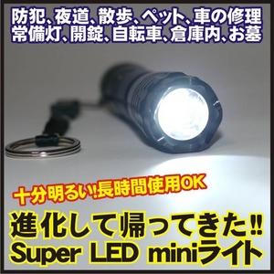 【電丸】【すぐに使える電池つき】Super LED miniライト 超高輝度フラッシュライト - 拡大画像