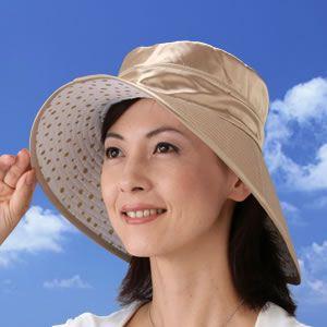 シルクつば長ひんやりリバーシブル帽子 ベージュ系  - 拡大画像