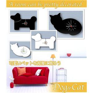 動物クロック Dog&Cat ダイヤモンド・キャット ホワイト