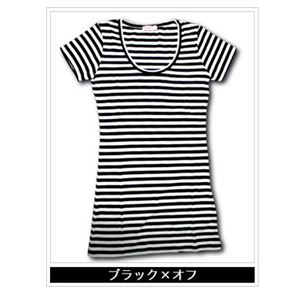 ボーダーTシャツ 深UネックTシャツ 30925-355 ブラック×オフ