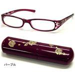 バラ柄シニアグラス +3.50 DR705-5パープル (老眼鏡)