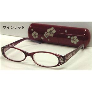 サクラ柄シニアグラス +3.50 DR701-7ワインレッド(エンジ) (老眼鏡) - 拡大画像