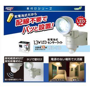 ムサシ LED-110 乾電池式 1.3W LEDセンサーライト - 拡大画像