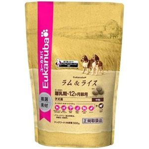 421990 ユーカヌバ 子犬用(中粒) ラム&ライス 離乳期〜12ヶ月齢用 500g×12個 - 拡大画像