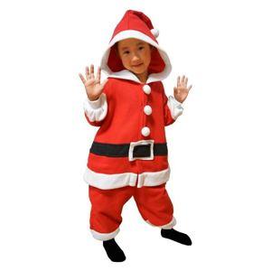 【クリスマスコスプレ】サザック フリースサンタクロース着ぐるみ 子供用 95cm 2756E - 拡大画像