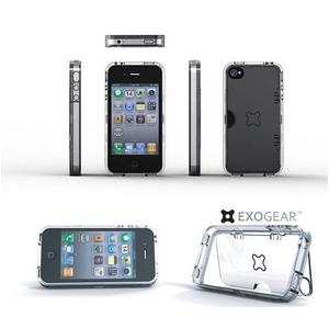 ハイエンドヘッドホン対応●◆iPhone4S / iPhone4 スタンド付きケース Exoclear Case 保護&スタンド機能 ●スタンド付き+騒音防止設計● Clear