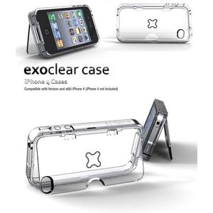 ハイエンドヘッドホン対応[★即発送★]◆iPhone4S / iPhone4 スタンド付きケース Exoclear Case 保護&スタンド機能 ●スタンド付き+騒音防止設計● Smoke Black