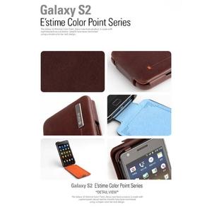 Zenus GALAXY S2 ケース Estime Color Point Folder ●本革●ブラックチョコレート