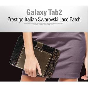 GALAXY Tab 10.1 LTE SC-01D★Prestige Italian Swarovski Lace Patch Bronze Black【イタリアン本革】