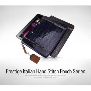 ★GALAXY Tab 10.1 LTE SC-01D★Prestige Italian Hand Stitch Pouch●天然イタリアン革-Royal Navy