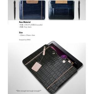 GALAXY Tab 10.1 LTE SC-01D★Prestige Italian Hand Stitch Pouch●天然イタリアン革-Khaki Gray