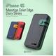iPHONE4/4S Masstige Italian PU Color Edge Diary カードケース付き Wine Red