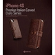 iPHONE4/4S 【イタリア高級天然革】 Italian Carved Leather Diary BLACK CHOCOLATE カードケース付き!!!