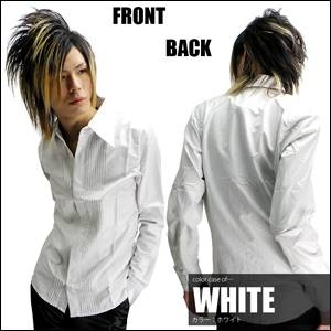Luxury Black(ラグジュアリーブラック) ドレスタックシャツ WHT(ホワイト) Mサイズ - 拡大画像