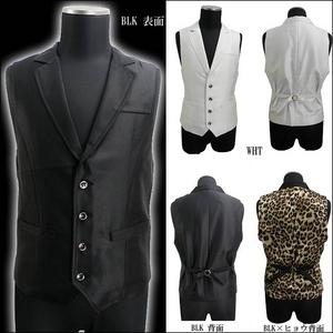 Luxury Black(ラグジュアリーブラック) ノッチ衿シャイニードレスジレ ヒョウ柄 Sサイズ h03