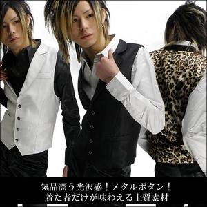 Luxury Black(ラグジュアリーブラック) ノッチ衿シャイニードレスジレ ヒョウ柄 Mサイズ f04