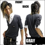Luxury Black(ラグジュアリーブラック) メタルプレートレイヤードニットボタンダウンシャツ GRY(グレー) Mサイズ
