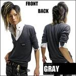 Luxury Black(ラグジュアリーブラック) メタルプレートレイヤードニットボタンダウンシャツ GRY(グレー) Lサイズ