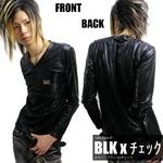 Luxury Black(ラグジュアリーブラック) メタルプレートネーム総柄シャイニーロンTee チェック Fサイズ