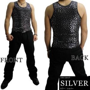 Luxury Black(ラグジュアリーブラック) スターUネックタンクトップ SLV(シルバー) Sサイズ h01