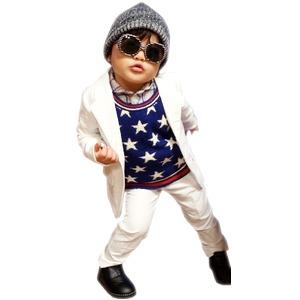 子供 スーツ 男の子 キッズスーツ 3点セット (マットホワイトスーツ(XL)130) 子供服
