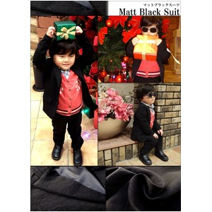 子供 スーツ 男の子 キッズスーツ 3点セット (マットブラックスーツ(S) 100) 子供服