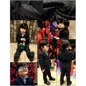 子供 スーツ 男の子 キッズスーツ 3点セット (ストライプスーツ(S) 100) 子供服  f05