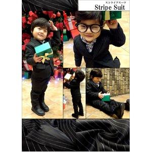 子供 スーツ 男の子 キッズスーツ 3点セット (ストライプスーツ(M) 110) 子供服  f04