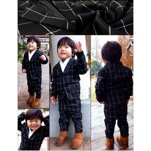 子供 スーツ 男の子 キッズスーツ 3点セット (ウィンドペンスーツBLK(L) 120) 子供服