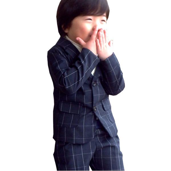 子供 スーツ 男の子 キッズスーツ 3点セット ウィンドペンスーツNYV(M) 110) 子供服 f00