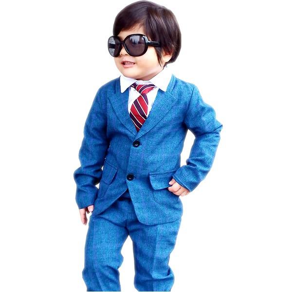 子供 スーツ 男の子 キッズスーツ 3点セット (ブルーチェックスーツ(XL)130) 子供服 f00