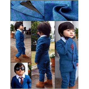 子供 スーツ 男の子 キッズスーツ 3点セット (ブルーチェックスーツ(XL)130) 子供服  f05