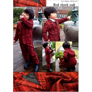 子供 スーツ 男の子 キッズスーツ 3点セット (レッドチェックスーツ(XS) 95) 子供服