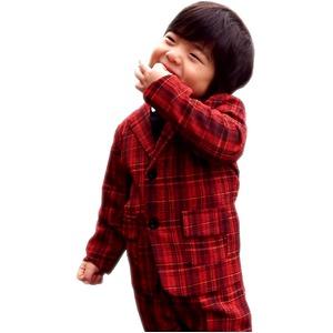 子供 スーツ 男の子 キッズスーツ 3点セット (レッドチェックスーツ(S) 100) 子供服  h01